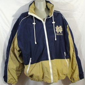 Vintage Notre Dame Logo Athletic Hooded Jacket XL